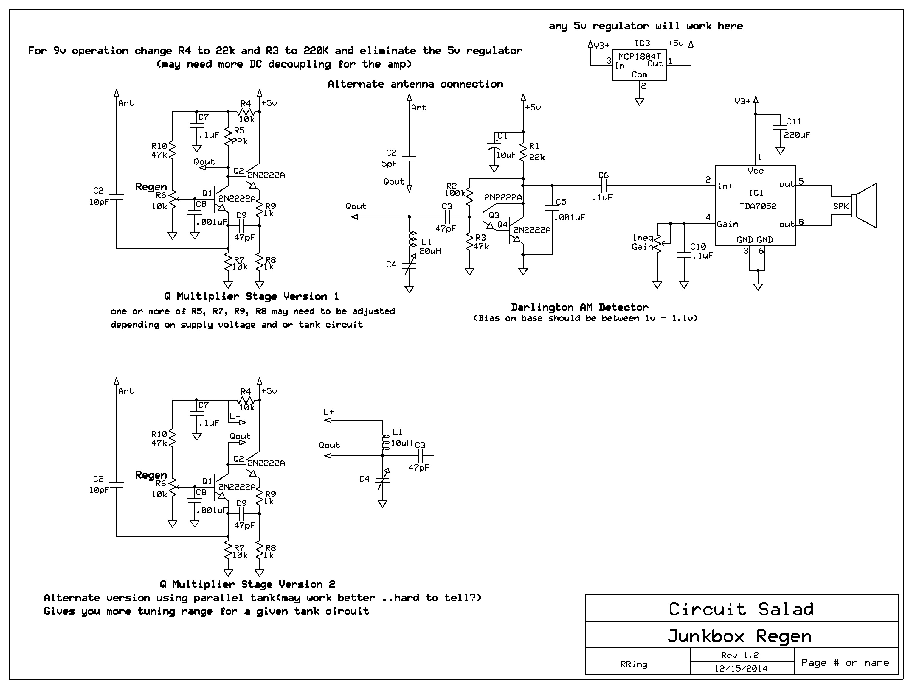 An Unusual Regenerative Receiver Circuit Using Only Bipolar Transistor Wiring Diagram 2222a Regen
