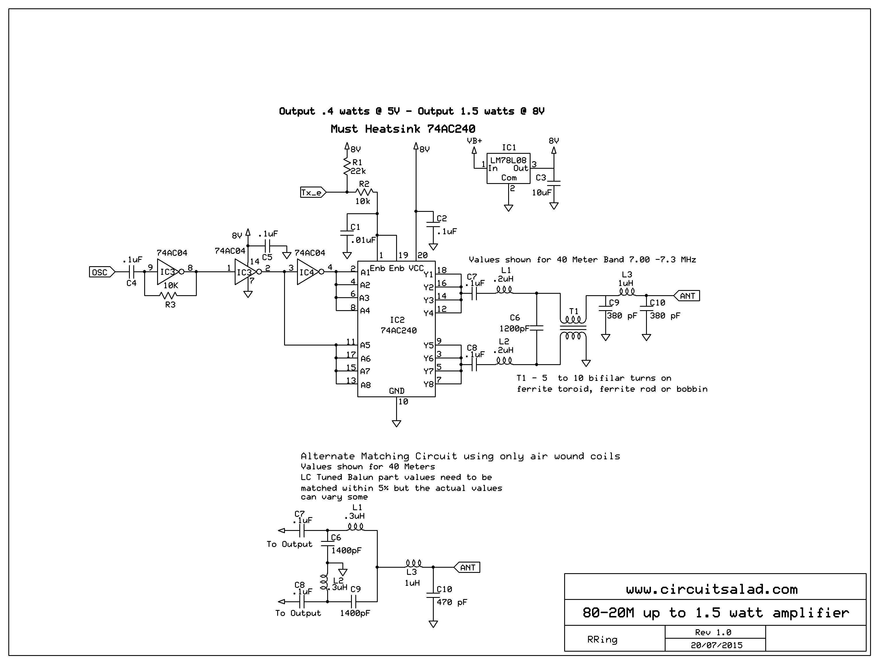 Circuit Salad Electronics From Conception To Completion Page 3 The Four Circuits I Put On Board Of Course Used 001uf Not Qrp Rf Amp